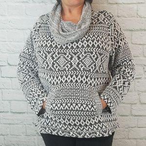 Energe Cowl Neck Sweater w/ Kangaroo Pocket